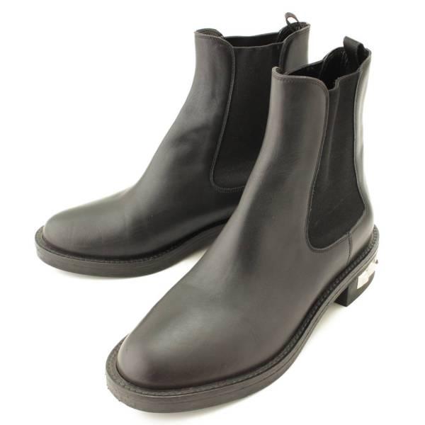レザー サイドゴア ブーツ スタッズ ブラック 36