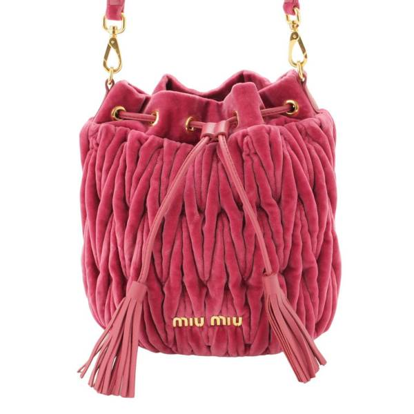 マトラッセ 巾着 ショルダーバッグ タッセル ベロア 5BE014 ピンク