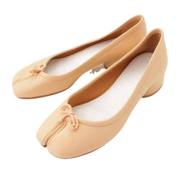 21SS TABI Ballerina 足袋 バレリーナ レザー パンプス タビ ベージュ 38