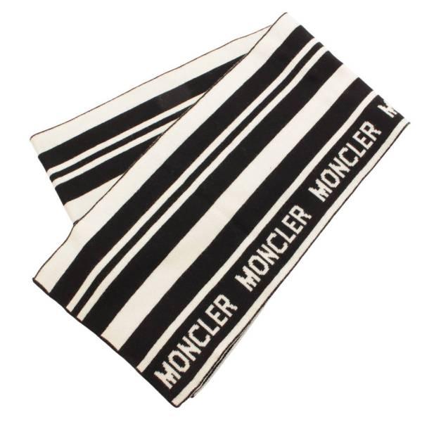 ロゴ ボーダー マフラー ブラック ホワイト