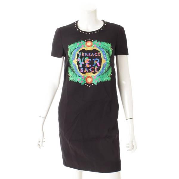 12SS スタッズアクセント ロゴ ワンピース ドレス ブラック 38