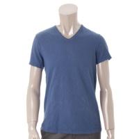 メンズ コットン Vネック Tシャツ ブルー 46