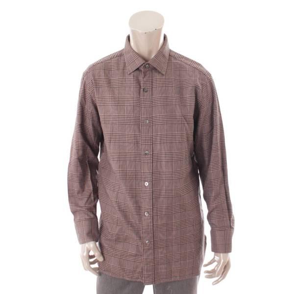 グレンチェック シャツ トップス コットン 6FT225 ブラウン 42