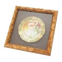 金彩 花柄 飾り皿 陶磁器 食器 額装品 グリーン 額装付き