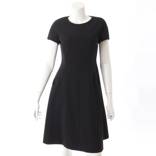2017年 肩パッド付き 半袖 ドレス ワンピース 37731 ブラック 38
