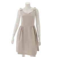 マットストレッチグログラン リボン ワンピース ドレス 36462 ベージュ 38