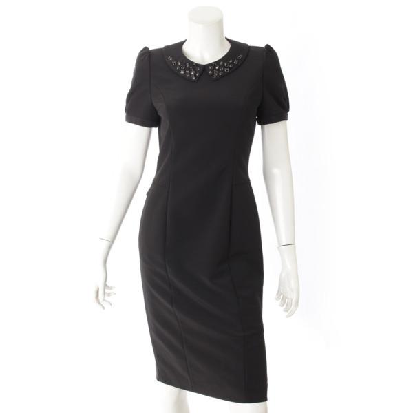 半袖 ビジュー ドレス ワンピース 28343 ブラック SP商品 38