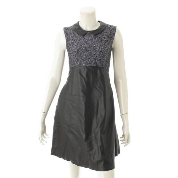メモリーツイードドレス フェイクレザー ワンピース 35168 ネイビー 38