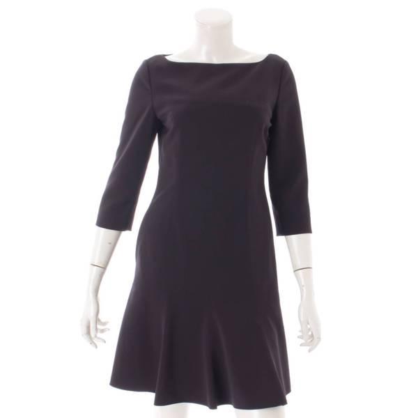 七分袖丈 スクープドネック ワンピース ドレス 39843 ブラック 38