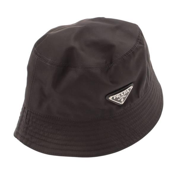 ナイロン バケット ハット 三角ロゴプレート 帽子 ブラック M