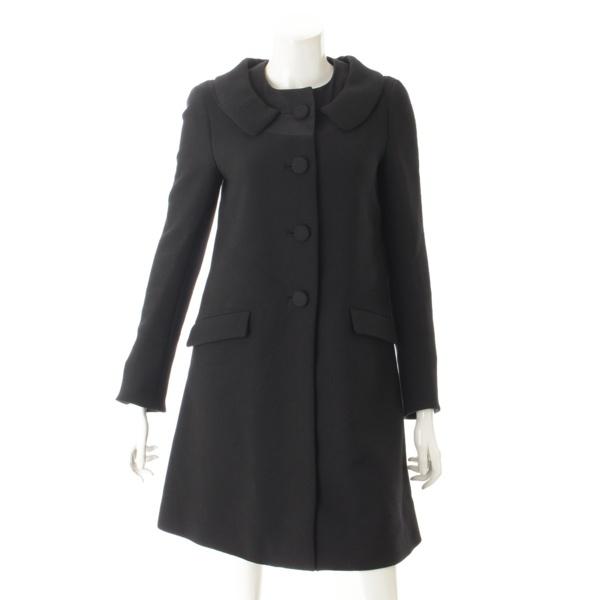 ウール ロング コート ブラック 38