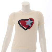 カシミヤ 半袖 ハート 星 ニット セーター ホワイト 38