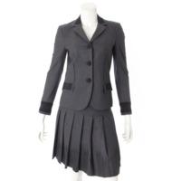 ウール混 ジャケット スカート セットアップ チャコールグレー 36
