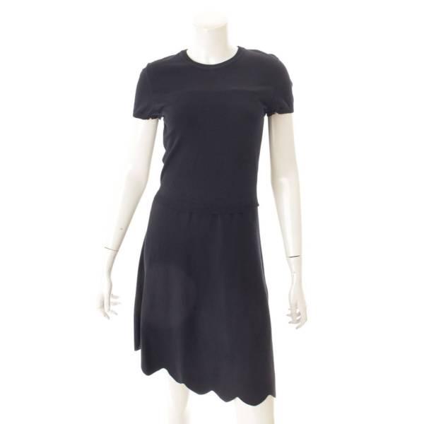 ニットワンピース ドレス ネイビー M