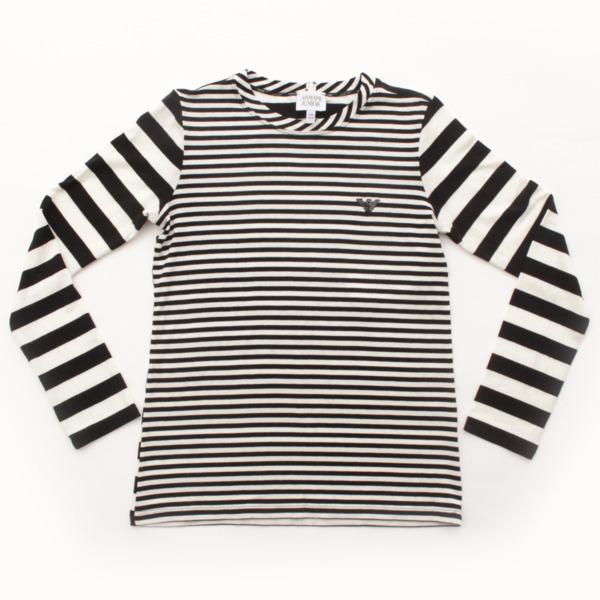 キッズ 子供服 ネクタイ付き ボーダー 長袖 Tシャツ ブラック×ホワイト 10A