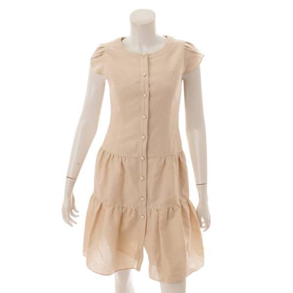 コットン 半袖ワンピース ドレス 6526250 ベージュ 34