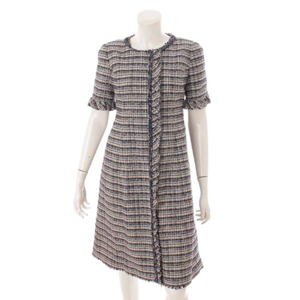 ツイード 半袖 Aライン ワンピース ドレス 6936150 マルチカラー 36