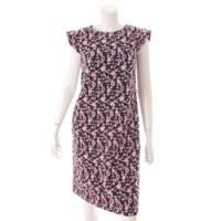 20年 TISSUE 花柄 刺繍 ワンピース 6046710 ブラック×ピンク 36