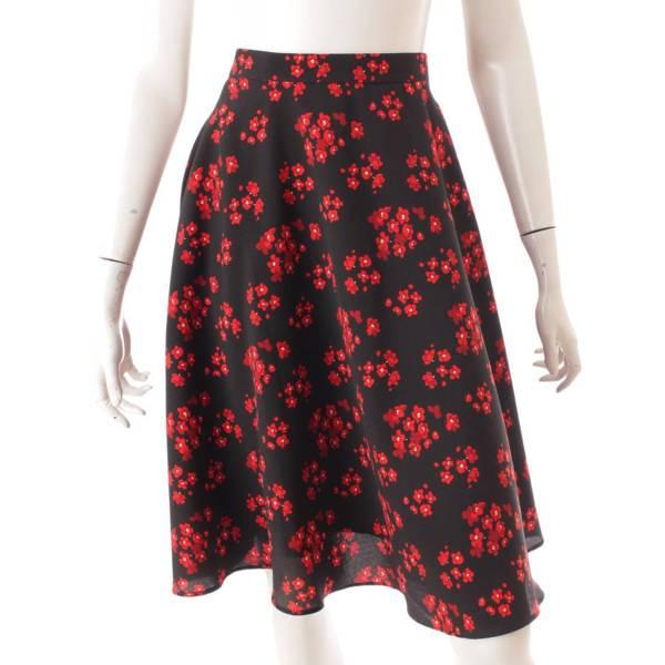 フレアスカート フラワー 花柄 ブラック レッド 34