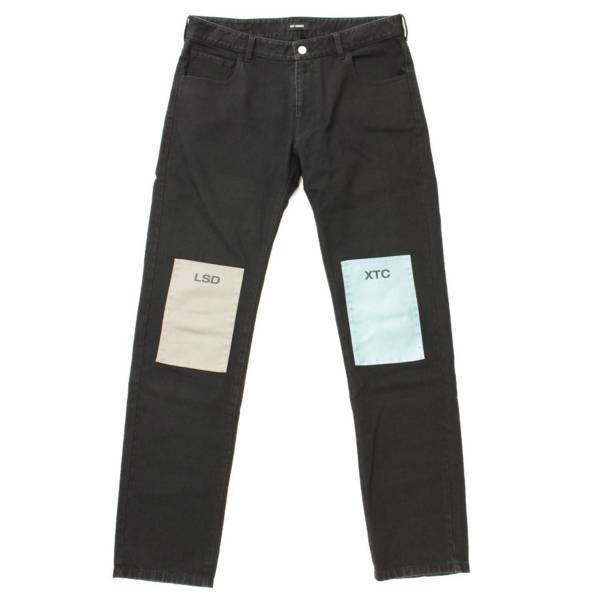 18AW Regular fit jeans with patches パッチ デニムパンツ ブラック 36