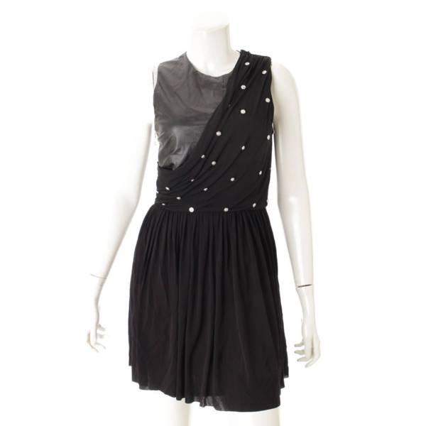レザーアクセント ノースリーブ ワンピース ドレス ブラック 38
