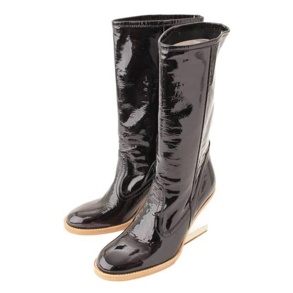 パテント クリアウェッジヒール ミディアム ブーツ ブラック 36