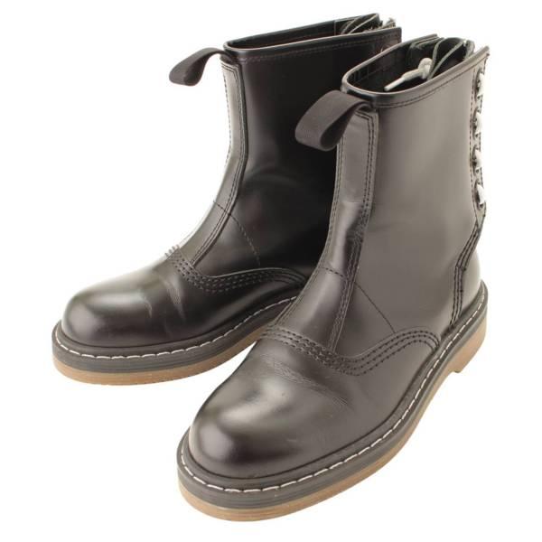 Hender Schemeコラボ カウハイド バックジップ ブーツ ブラック 37