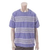 18SS メンズ ストライプ 刺繍 サイドジッププルオーバー シャツ トップス 18-01570M ブルー 1