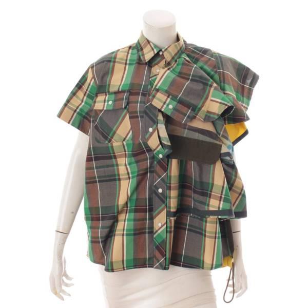 19SS チェック柄 ドッキングシャツ カットオフ フリル アシンメトリー 19-04452 グリーン 1