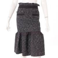 20SS サマーツイード レイヤード スカート ブラック 1