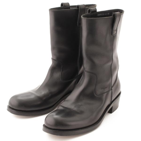 メンズ レザー ミドル ブーツ ブラック 7 1/2 3E