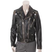 メンズ 17年 ディストレスド レザー モーターサイクル ライダースジャケット 455923 ブラック 44