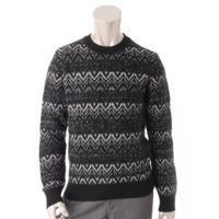 メンズ 現行品 ウール ラメニット セーター 529736 ブラック×シルバー S