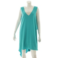 ノースリーブ ワンピース ドレス グリーン XS