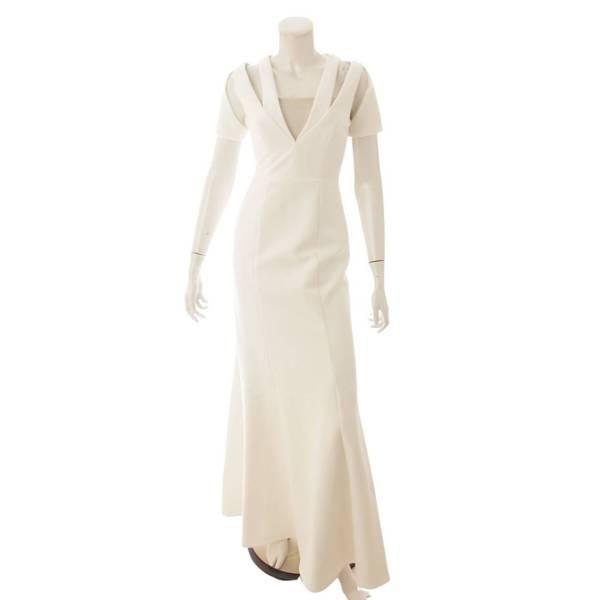 ロング ワンピース ドレス ホワイト S