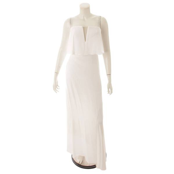 ベアトップ ワンピース ドレス ホワイト O