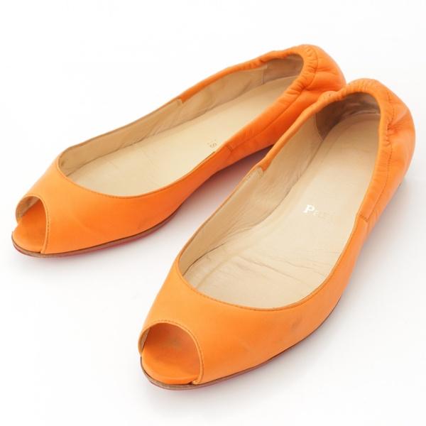 レザー オープントゥ フラットシューズ パンプス オレンジ 37