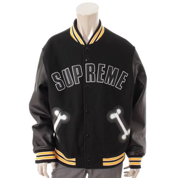 メンズ Bone Varsity Jacket スタジャン ブラック L