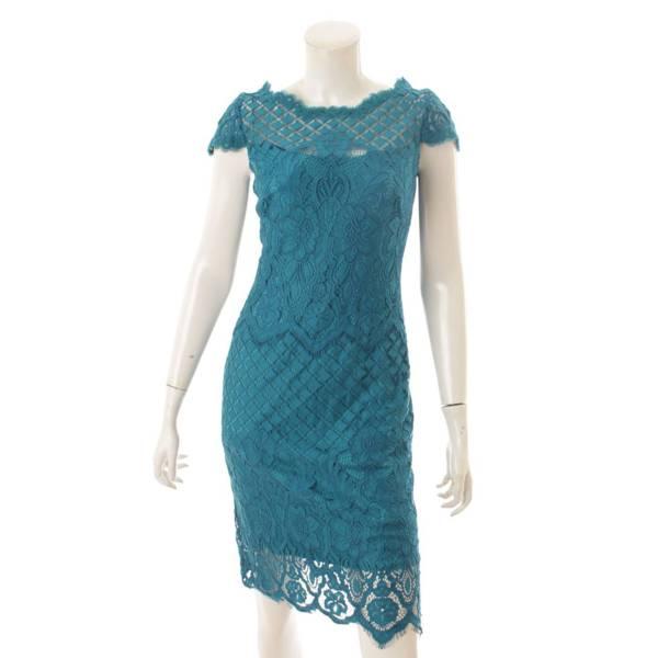 フラワー刺繍 レース ワンピース ドレス BGK17333M セルリアン ブルー 0