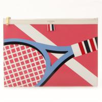テニスラケット インターシャ レザー クラッチバッグ