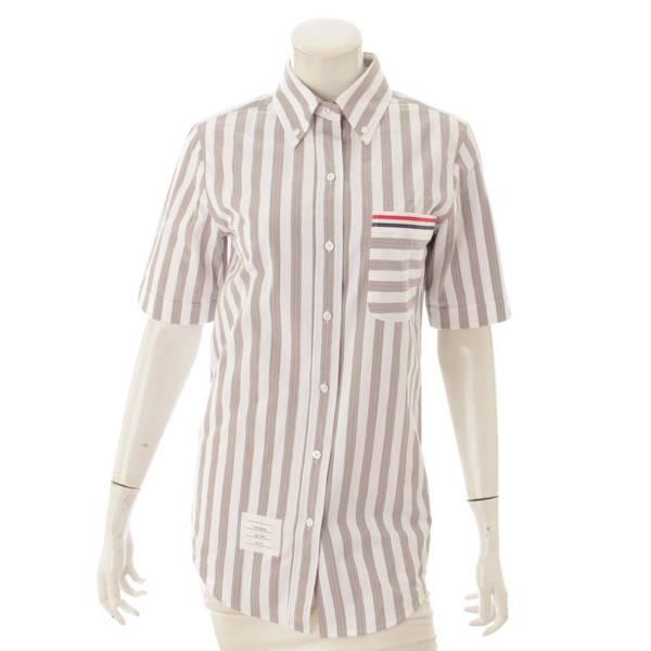 半袖 ボタンダウン シャツ ブラウス グレー 40