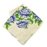 シルク混 フラワープリント 大判ストール スカーフ 花柄 アジサイ ベージュ ブルー