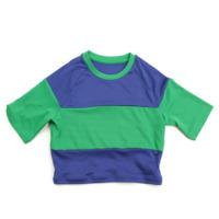 スポーツ ボーダー ショート 半袖 Tシャツ トップス ブルー×グリーン