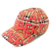 プリント キャップ 4074816 帽子 ベージュ×レッド
