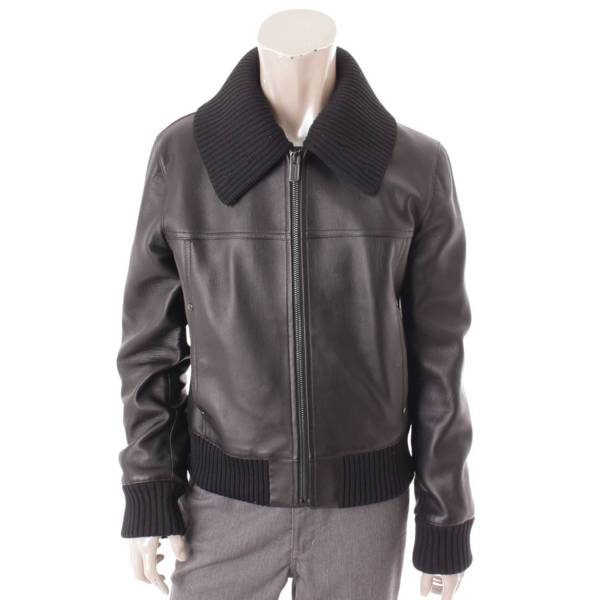 レザー フライトジャケット ブルゾン ブラック 50