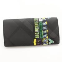 ロンドンチェック ロゴプリント 二つ折り 長財布 ブラック