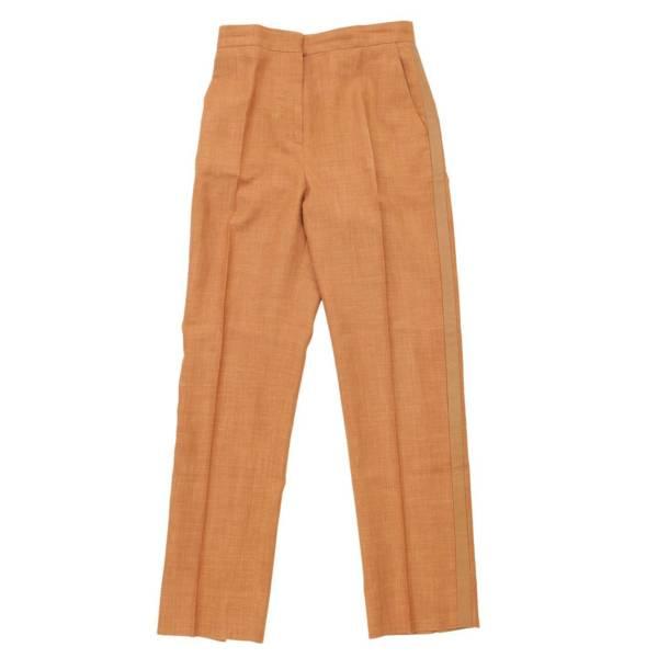 レザー シルク混 側章 スラックス パンツ 4560873 ブラウン 36