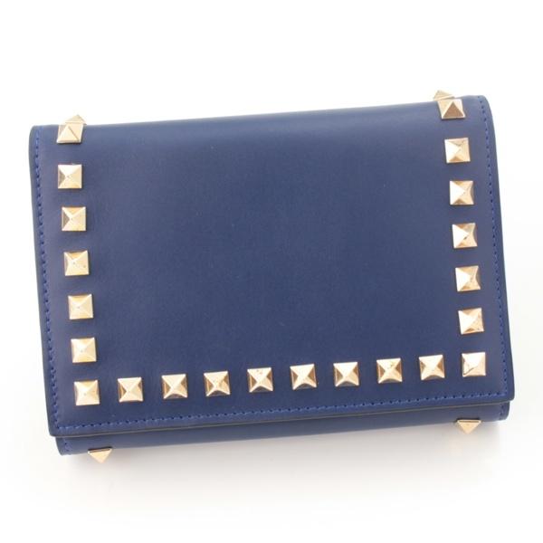 ロックスタッズ ウォレット 三つ折り財布 ブルー