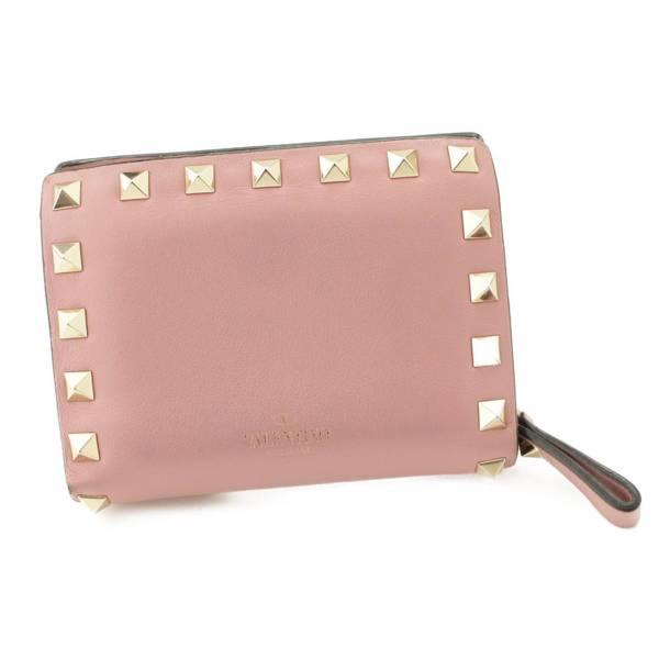 ロックスタッズ コンパクトウォレット 二つ折り財布 ピンク