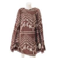 ロゴ シルクシェブロンツイルドレス ワンピース RB3VAKD54EL ブラウン 40